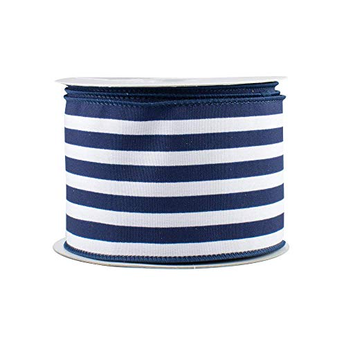 "Navy White Stripe Wired Ribbon - 2 1/2"" x 10 Yards, Satin, President"