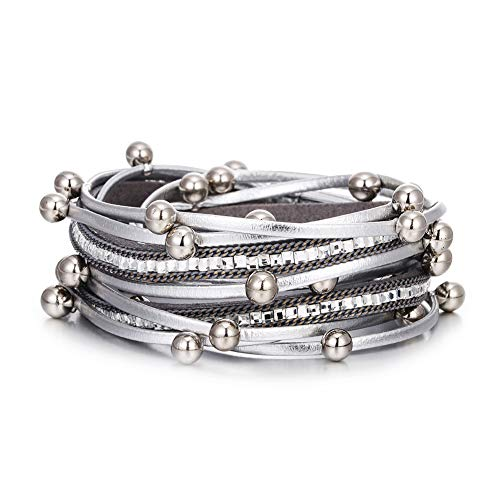 VONRU Leather Wrap Bracelet for Women - Charm Boho Multilayer Gorgeous Bracelets Wristbands - Casual Braided Handmade Magnetic Bracelet Cuff Bangle Gift for Monther (Silver Bead wrap Bracelet)