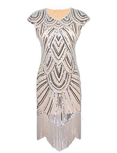 Luxury Embellished Evening Embeded Kayamiya Women Beaded s Beige Diamond 1920S Flapper Diaomond Dress qWSwRtSO