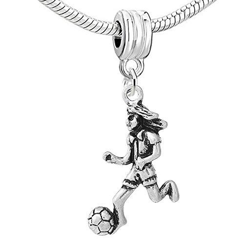 SEXY SPARKLES Football Soccer Player Dangle Charm Pendant for European Snake Chain Bracelets