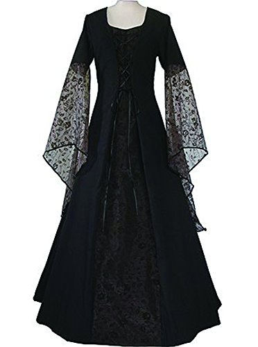 Plus Size Medieval Dress (CNJFJ Women's Medieval Dress Renaissance Lace Up Vintage Style Gothic Dress Cosplay Dresses Retro Gown)