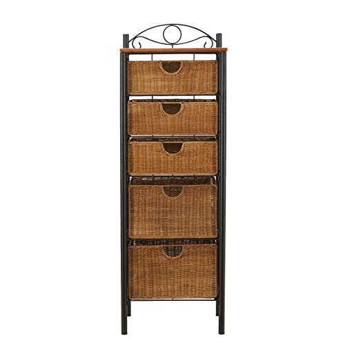 - 5 Drawer  Storage Unit w/ Wicker Baskets - Versatile Tower - Wrought Iron Frame