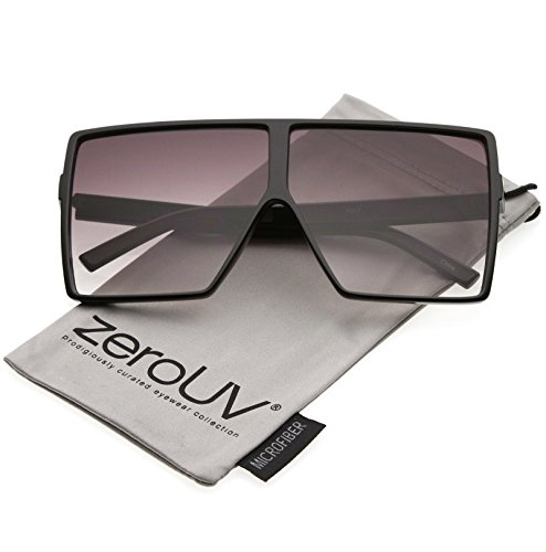 zeroUV - Super Oversize Flat Top Neutral Color Flat Lens Square Sunglasses 69mm (Black / - Sunglasses Loewe