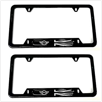 2 Black Auteal Car UK Flag Stainless Steel Metal License Plate Tag Frame Cover Holders w//Caps Screws for Mini Clubman Countryman