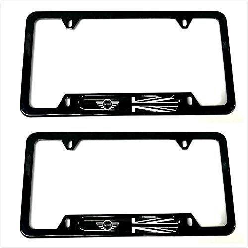 Auteal Car UK Flag Stainless Steel Metal License Plate Tag Frame Cover Holders w//Caps Screws for Mini Clubman Countryman 2 Black