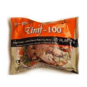 Unif-100 Instant Noodles -Artificial Stewed Pork Chop Shrimp Flavor 243.63oz/103g (24 Bags One Box)