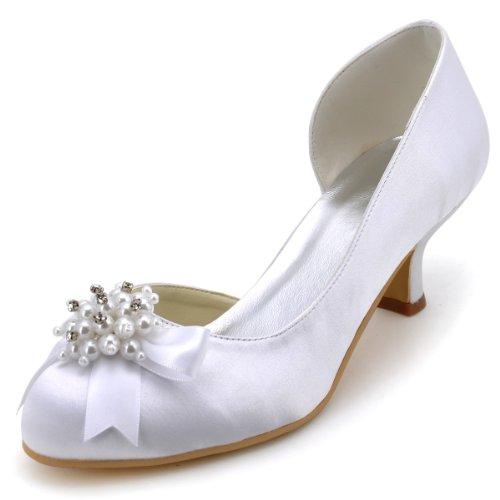 ElegantPark 100114 Mujer Punta Rotonda Baile Perla Rhinestones Arcos Mini Tacón Satén Fiesta Zapatos de Boda Plateado