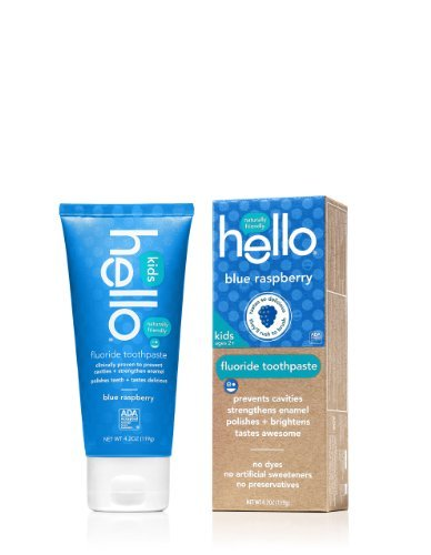 Blue Toothpaste - Hello Oral Care Kids Fluoride Toothpaste, Blue Raspberry, 4.2 Ounce(Pack Of 4)