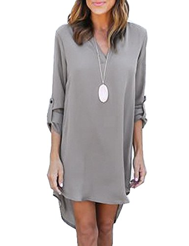 mmer V Neck Blouse Dress Loose Casual Tunic Chiffon Long Tops, XX-Large, Gray ()