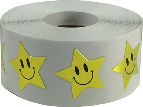 Gold Smiley Face Star Stickers, 1 Inch Wide, 500 Labels on a Roll