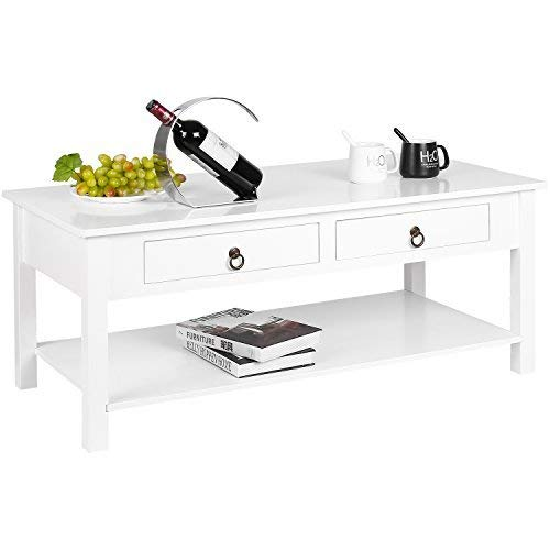 Cheap HOMFA Coffee Table Modern Console Desk Collection Table with Storage Shelf and 2 Drawers Simple Stylish Home Furniture White