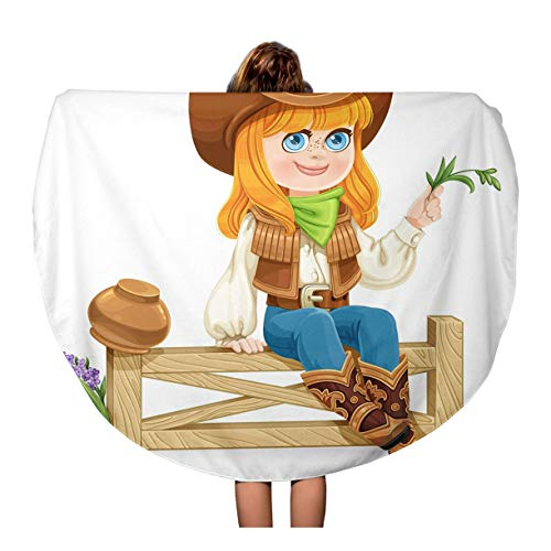- Pinbeam Beach Towel Green Cute Girl in Cowboy Costume Sits Travel 60 inches Round Tapestry Beach Blanket
