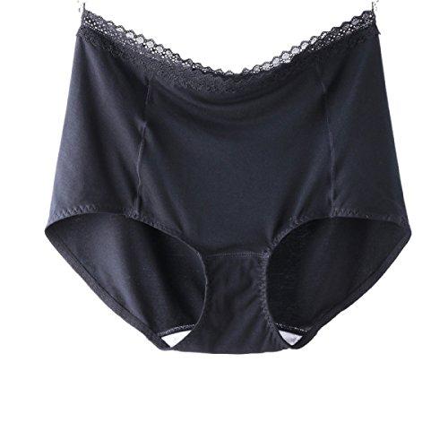 Mujer Ropa Interior De Algodón Entrepierna De Algodón De Encaje Bolsa De Cadera Cintura De 2 Paquetes Black