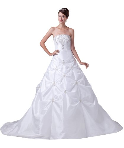 ImPrincess ip4-5277-i12 Wedding Dress Gorgeous Style Dipped Strapless Tie Delicate Beading Embroidery Long Cathedral Ball gown Ivory (Tie Dress Taffeta Strapless)