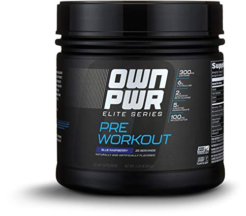 OWN PWR Elite Series Pre Workout Powder, Blue Raspberry, 25 Servings, with 5g Creatine, 2g Beta Alanine (as CarnoSyn), 300mg Caffeine & more