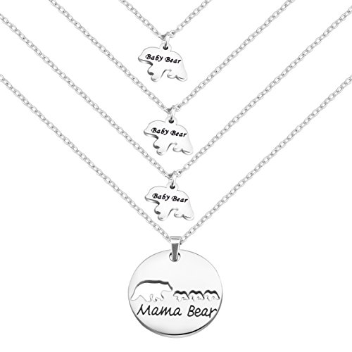 - Zuo Bao Mama Bear and Baby Bear Necklace Set Mother Daughter Necklace Mom Jewelry (Silver-3 Cubs)