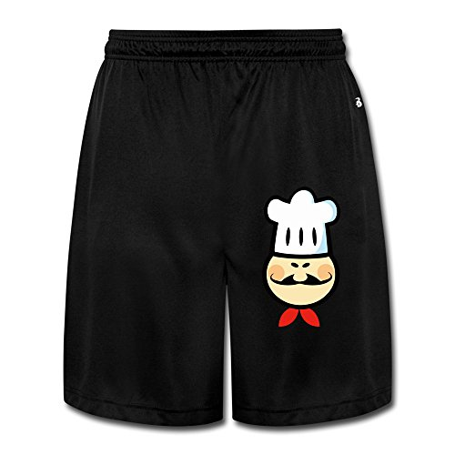 LunaCp Men's Chef Chefs Cook Cooking Food Cartoon Funny Performance Shorts Sweatpants L Black (Chef Dustin Hoffman compare prices)