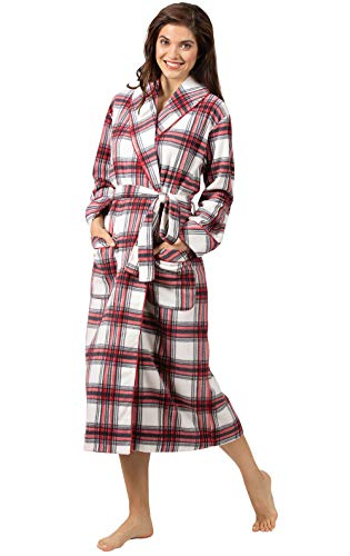 PajamaGram Ladies Bathrobes Soft Fleece - Womens Plaid Robes, Red