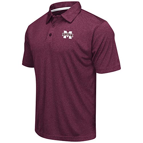 Colosseum Men's NCAA Heathered Trend-Setter Golf/Polo Shirt (Mississippi State Bulldogs-Heathered Maroon, X-Large)