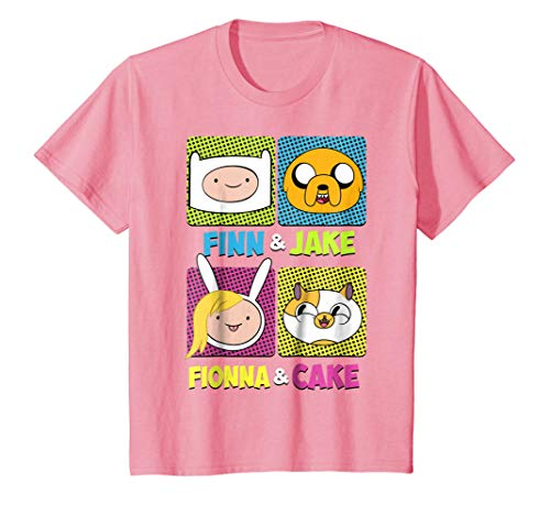 Kids CN Adventure Time Finn Jake Fionna Cake Graphic T-Shirt 8 Pink (T-shirt Big Time Youth)