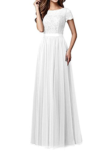 Lace Long BOwith Sleeves Dresses Prom Short Dresses Bridesmaid Womens Tulle Evening Ivory EwS0wq
