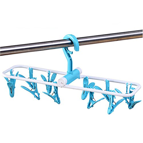 Inoutdoorkit Folding Travel Clip & Drip Socks Hangers, Portable Plastic Clothes Underwear Laundry Drying Hanger Rack With 12 Clips For Home Or Outdoor FPH12 (Blue)