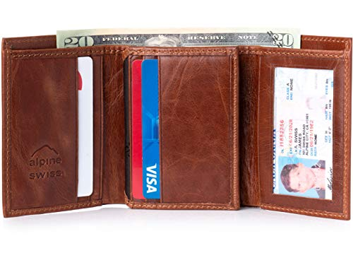 Mens Brown Trifold Wallet Extra Capacity 10 Inside Slots 2 ID Windows By Alpine Swiss