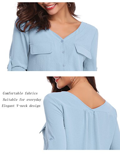LYHNMW YHNMW Women's Casual Button Down Shirt Loose Roll-up Sleeve Tops Chiffon V-Neck Blouse by LYHNMW (Image #6)