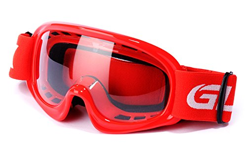 GLX Youth Kids Sports Motocross Dirt Bike Motorcycle Off Road Racing ATV Goggles (Red)