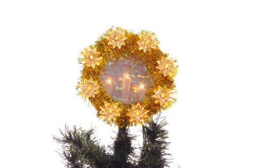 Holiday Style Gold Christmas Tree Topper with White Candelabra Lights