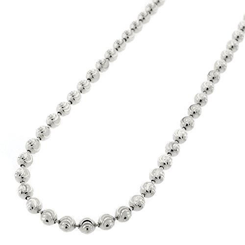Sterling Silver Italian 4mm Ball Bead Moon Cut Solid 925 Rhodium Necklace Chain 24