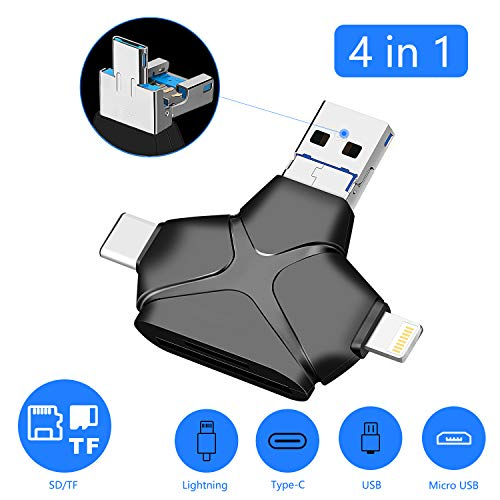 SD Card Reader for iPhone Andriod Mac Computer/PC Camera,4 in 1 SD/TF/Micro Memory Card Reader with USB/Type C/Micro USB/Lightning Adapter to View Game Camera Photos and Videos on Smart Devices
