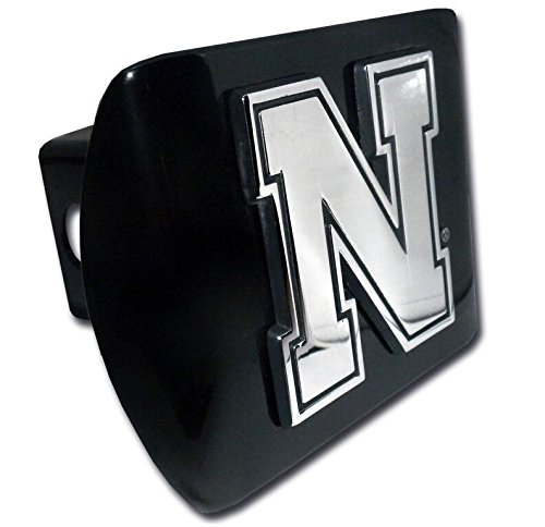 - Elektroplate University of Nebraska Huskers Chrome Iron N Emblem Black Metal Trailer Hitch Cover Fits 2 Inch Auto Car Truck Receiver with NCAA College Sports Logo