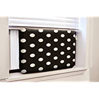Gerrard Larriett Aromatherapy Pet Care Premium Quilted Indoor Air Conditioner Covers for Window Units 24 W x 15 H - Black White Polka
