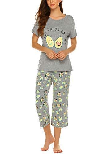 MAXMODA Women's Sleepwear Tops with Capri Pants Pajama Sets Avocado XL