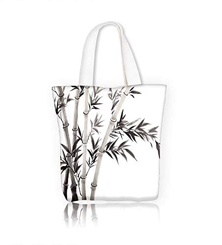 (canvas tote bagtraditional Chinese bamboo with white and black reusable canvas bag bulk for grocery,shopping W23xH14xD7)