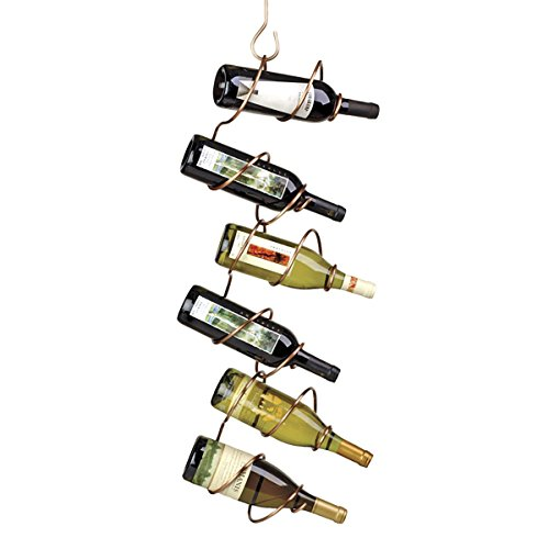 - Oenophilia Climbing Tendril Hanging Wine Rack, Copper - 6 Bottle