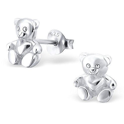 (Tiny Cute Plain Silver Teddy Bear Heart Studs Earrings Rose Gold Plated Stering Silver 925 Nickle Free (Silver 19331))
