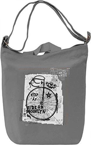 Brooklyn ride Borsa Giornaliera Canvas Canvas Day Bag| 100% Premium Cotton Canvas| DTG Printing|
