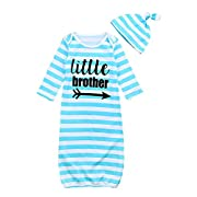 Happy Town Newborn Baby Girls Sleepy Floral Striped Gown Sleepwear Romper Sleeping Bags With Hat (Blue Brother)