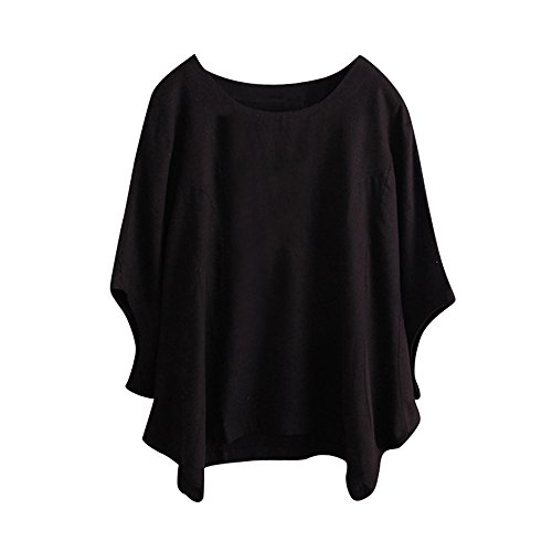 Willow S Plus Size Women Short Sleeve Round Neck Dandelion Printing Cotton and Linen Loose T-Shirts Tops Blouses