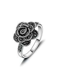Yfnfxl Women's Vintage Fashion Flower Rings Cute Thin Rose Black Marcasite Statement Rings for Women Girls …