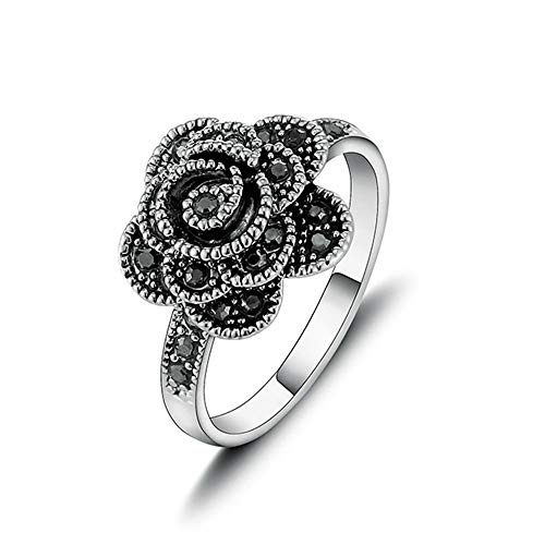 Unique Flower Ring - Yfnfxl Vintage Fashion Ring Silver Marcasite Flower Crystal Cocktail Statement Rings for Women (Black1, 9)