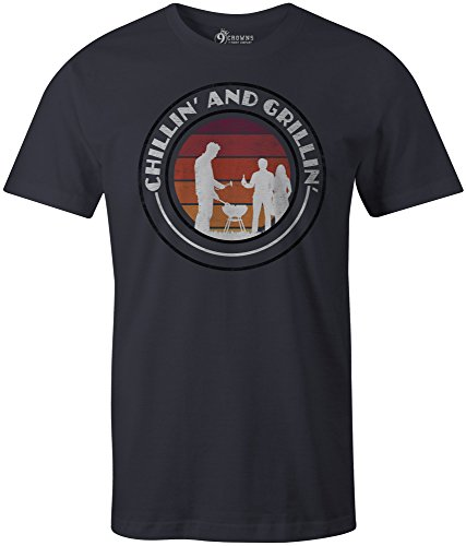 9 Crowns Tees Men's Chillin' and Grillin' Summer Logo T-Shirt-ChillinNavy-Large ()
