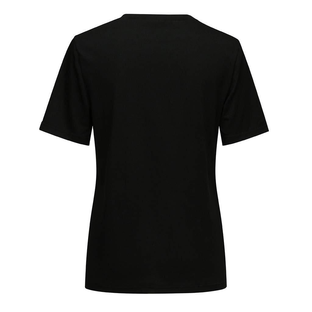 NINGNETI Mujeres Galaxy Camiseta De Manga Corta con Estampado De Gato Negro Suelta Punk Tops G/óTicos Camiseta Informal
