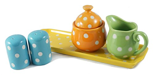 Cream Sugar Tray Set - Bright Polka Dot Kitchenware Set with Tray