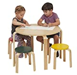 ECR4Kids Bentwood Table and Stool Set for Kids, Assorted