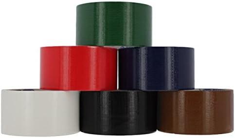 rampro resistente cinta americana de | varios colores Pack de 6 rollos, 48 mm x 9,1 Patio – incluye colores: azul, verde, rojo, marrón, blanco y negro.: Amazon.es: Oficina y papelería