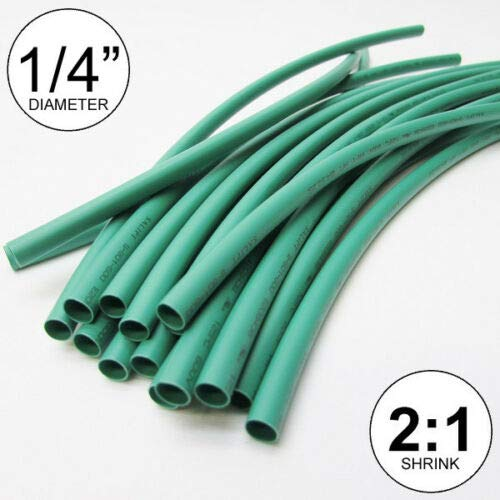 1/4'', ID Green Heat Shrink Tube 2:1 Ratio 0.25'', (14x9'', 10 ft) inch/feet/to 6mm