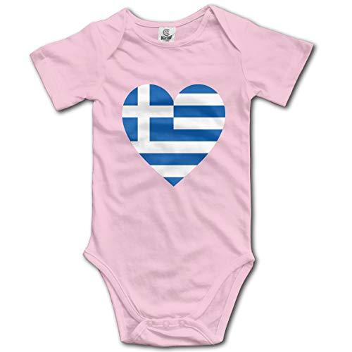 Baby Short-Sleeve Onesies Love Greek Flag Bodysuit Baby Outfits -